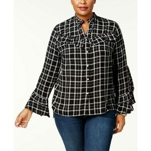 INC Black White Plaid Ruffled Button Down Shirt